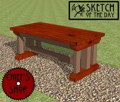Sketch of the Day: Formal Garden Bench