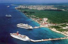 Cozumel, Mexico. We were RIGHT here. We went snorkeling just past the 2nd cruise ship. It was a blast!