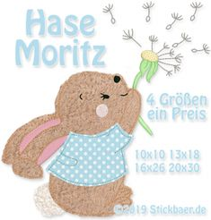 Der Stickbär | Hase Moritz | Stickmuster mit Herz