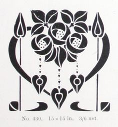 "Rose & Heart stencil design (15""x15"") from ""A Practical Guide to Stencilling"" by Frank Gibson (1913)."