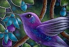 Art: VIOLET SABREWING HUMMINGBIRD WITH FUSCHIA FLOWERS by Artist Cyra R. Cancel