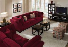 Solace Poppy Sofa - Value City Furniture Red Couch Living Room, Burgundy Living Room, Living Room Paint, Home Living Room, Living Room Furniture, Living Room Decor, Burgundy Decor, Sofa Design, Interior Design