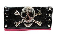 Punk Rock #Skull Buckle with Crystals Tri Fold Wallet – Pink
