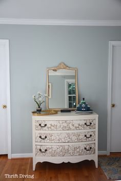 Sherwin Williams Rainwashed is the most beautiful color for a home! See this master bedroom makeover using Rainwashed along with new crown moulding.