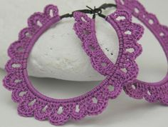 Crochet hoop earrings  Crochet jewelry  Big earrings by lindapaula, €12.00