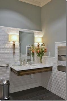 Heather Scott Home & Design · A Welcoming Dental Office Ada Bathroom, Handicap Bathroom, Office Bathroom, Bathroom Gray, Bathroom Colors, Bathroom Interior, Cl Design, Design Salon, House Design
