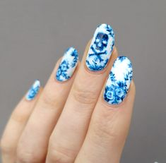 Someone sent me a message recently suggesting I try some flow blue nails, and I loved the idea. However, because I replied to that message it's gone from my inbox,. Halloween Nail Designs, Halloween Nails, Gorgeous Nails, Pretty Nails, Fancy Nails, Ten Nails, Skull Nails, China Nails, Gothic Nails