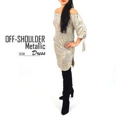 Off-shoulder dress metallic