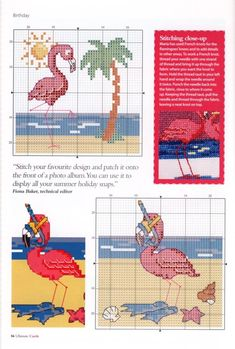Gallery.ru / Фото #56 - Ultimate CrossStitch Cards №17 2018 - Chispitas Small Cross Stitch, Cross Stitch Bird, Beaded Cross Stitch, Cross Stitch Animals, Counted Cross Stitch Patterns, Cross Stitch Charts, Cross Stitching, Crochet Flamingo, Rainy Day Crafts