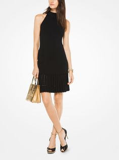 This simple halter dress is crafted in a form-fitting silhouette that descends into a pleated hem. Designed with a high neckline and exposed zipper at the back, it's a sophisticated option for cocktail hour and parties alike. Tweed Blazer, Tweed Jacket, Ribbed Bodysuit, Michael Kors, Work Wardrobe, Dresses For Work, Glamour, Clothes For Women, How To Wear