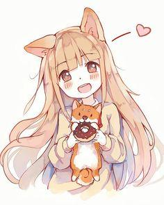 Kawaii loli girl with dog and donuts♡