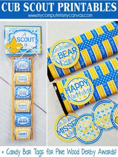 PRINTABLE Cub Scout favors, nugget wrappers, candy bar wrappers - great birthday gifts or handouts for Blue and Gold - Pine Wood Derby Award Tags included!! FINALLY some cute Cub Printables!! #mycomputerismycanvas