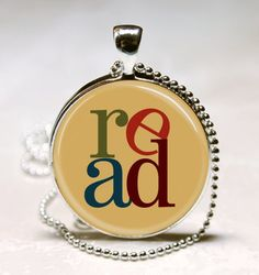 Read Book Necklace Reading Art Pendant with Ball Chain Included Jewelry for Teachers, Librarians, Bookworms, Bibliophiles