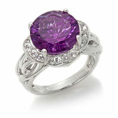 Victoria Wieck 6.35ct Purple Fluorite and White Topaz Sterling Silver Scalloped Frame Ring