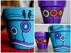 Risultati immagini per macetas pintadas Painted Clay Pots, Painted Flower Pots, Hand Painted Ceramics, Ceramic Pots, Terracotta Pots, Pottery Painting, Diy Painting, Flower Pot Design, Clay Pot Crafts