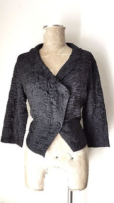 Ann Fleischer Cardigan Jacket Size Large Silk Ribbon Formal Vintage 50s Corde Saks Fifth Avenue Hand Knit by JadeDesignVintage on Etsy