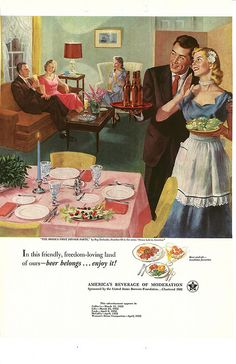 066. The Bride's First Dinner Party by Ray Prohaska, 1952 | Vintage beer ad