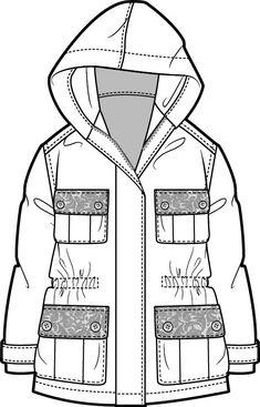 Risultati immagini per technical drawing parka Fashion Sketch Template, Fashion Design Template, Fashion Pattern, Flat Drawings, Flat Sketches, Fashion Sketchbook, Fashion Sketches, Fashion Vector, Clothing Sketches