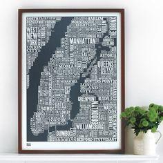 New York City Map Wall Art - New york city map wall art