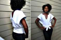 diy tutorial simple blouse, wrap style with a bow Blouse Wrap, Wrap Shirt, Tie Blouse, Diy Shirt, Diy Clothing, Sewing Clothes, Sewing Patterns Free, Sewing Tutorials, Diy Camisa
