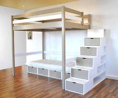 Mezzo lit mezzanine 140x190 avec banquette clic clac blanc prix promo carre - Escalier mezzanine rangement ...