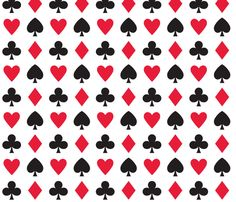 In Wonderland: Hearts, clubs, diamonds, custom fabric by jazzypatterns for sale on Spoonflower Vegas Theme, Casino Theme, Queen Of Hearts Costume, Alice Tea Party, Card Tattoo, Mad Hatter Tea, Pattern Wallpaper, Fabric Wallpaper, Paper Gifts