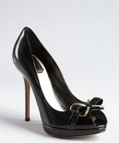 e67300e289b2  Christian Dior Black Leather Silvertone Bow Peep Toe Platform Pumps  Christian Dior Shoes
