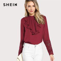 eeee1727a0f Шеин бордовый Элегантный рюшами плиссированные контраст кружево Кнопка  Стенд воротник блузка с длинными рукавами летние для женщин спецод