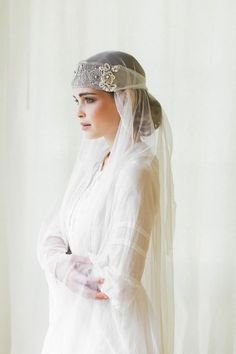 Camille Bridal Bandeau Headpiece with Handmade Metallic Lace, Beaded Leaves, and Silk Organza Ties Boho Wedding Dress, Bridal Lace, Wedding Dresses, Wedding Veils, Wedding Hair, Bridal Accessories, Bridal Jewelry, Jewelry Accessories, Photographie Portrait Inspiration