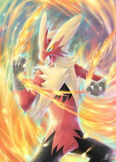Pokemon : Battle of Fire! by R- on (Mega Blaziken) Pokemon Eevee, Pokemon Fan Art, All Pokemon, Pokemon Pins, Pokemon Cards, Flying Type Pokemon, Overwatch Wallpapers, Pokemon Pictures, Anime