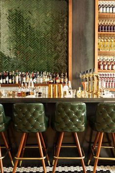 New NYC restaurant-Maison Pickle. Learn about the inspiration behind the new, cl… New NYC restaurant-Maison Pickle. Learn about the inspiration behind the new, classic, American eatery and snag some delicious cocktail recipes! Bar Interior Design, Restaurant Interior Design, Cafe Design, Kitchen Interior, Gold Interior, Kitchen Design, Outdoor Restaurant Design, Bathroom Interior, Restaurant Furniture