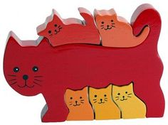 Cat Family Wood Puzzle - Pinned for Kidfolio, the parenting mobile app that makes sharing a snap.