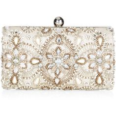 A shimmery, gold-colored base is topped with sparkly gems, metallic embroidery and lustrous sequins in a vintage-inspired design in this glamorous clutch. Incl…