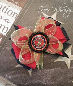 United States Marine Corps Military Hair Bow by HairWhimsy1, $5.00