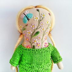 Art doll with embroidered face от summerwinedoll на Etsy