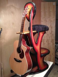 "Guitar Stool w/ Stand ""Really Cool Stool"" Standard Oak Generation 3 Choose Color 
