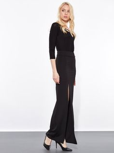 Maxi A-line skirt with deep slit up on front section