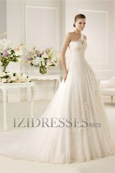 A-Line Ball Gown One Shoulder Sweetheart Organza Wedding Dress - IZIDRESSES.com