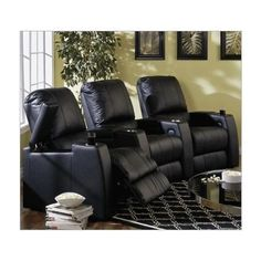 Best Buy Magnolia Home Theater Seating Row Of 3 Seats In Black Or Brown Leather