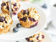Ohne Zucker und ohne Mehl! Frühstücksmuffins mit Blaubeeren