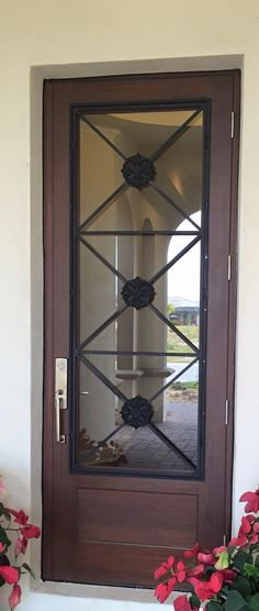 Estate Entrance- Woodgrain with ironwork. Would like double doors with this ironwork for front & Estate Collection Aspen Door by CGI Windows and Doors. | Doors ...