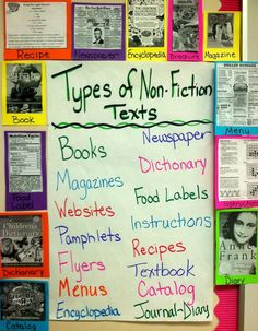 Types of nonfiction texts anchor chart Fiction Anchor Chart, Writing Anchor Charts, Fiction Vs Nonfiction, Nonfiction Activities, Literary Nonfiction, Fiction Writing, Text Feature Anchor Chart, Nonfiction Text Features, Informational Writing