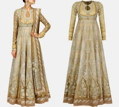 Beige flared multi panelled cotton and organdy anarkali fully embroidered in floral motifs pattern with gota, thread and surti lace and has keyhole detailing