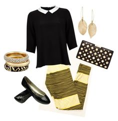 Work in comfort black and gold LuLaRoe leggings by celeste-harris-1 on Polyvore featuring polyvore, fashion, style, Lipsy, Milly, Michael Kors and Lulu*s