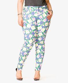 Rose Print Skinny Jeans | FOREVER21 PLUS - 2035985918