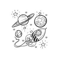 Vector image of Doodle space planets rocket ship stars explore vector, includes rocket, stars, pencil, ship & planets. Illustrator (.ai), EPS, PDF and JPG imag…