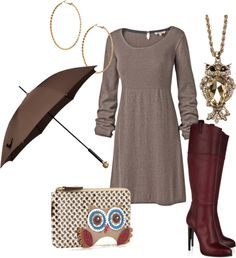 """Sweater Dress & Boots = Stylish"" by tinadhiggins ❤ liked on Polyvore"