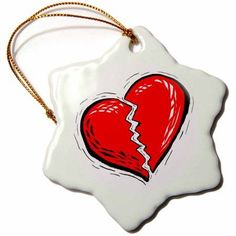 3dRose broken heart red graphic, Snowflake Ornament, Porcelain, 3-inch