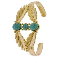 Gold Cuff with Turquoise Accents Use this beautiful gold piece to add a touch of glamour to your outfit. It is beautiful and very versatile.  bundles 2+ items get 10% off ❤️Follow me on IG: @mstanyakara Follow me on Snapchat: @tanyakara Tanya Kara Jewelry Bracelets
