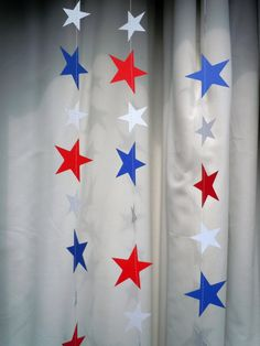 Red, White, and Blue Patriotic Stars Paper Garland by HookedonArtsNCrafts on Etsy